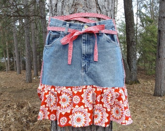 Sale - Denim Apron with Pockets and Ruffle, Craft Apron, Cooking Apron, Art Apron, Red Medallions - Upcycled