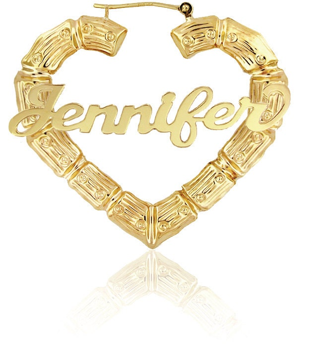 🔎zoom  sc 1 st  Etsy & Celebrity Style Door Knocker Earrings Bamboo Name Earrings
