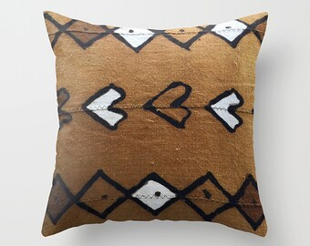 Authentic Mudcloth Pillow Cover, Burnt Sienna, Sienna, Caramel Brown, White, Black, Diamonds, Arrows, Hearts, Dots