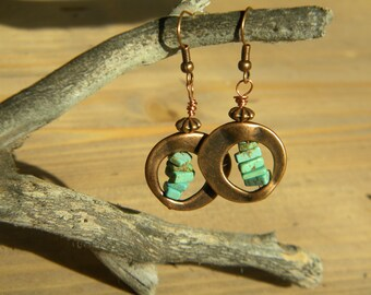 Turquoise magnesite and copper drop earrings
