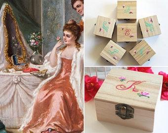 Personalized Bridesmaid Gift Set of 6, Bridesmaid Jewelry Box, Bridesmaid Proposal, Maid of Honor, Custom Bridesmaid Box, Hand Painted
