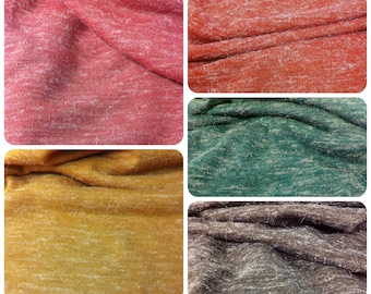 Fuzzy Heather Sweater Knit Fall Colors Lightweight Polyester Spandex Fabric - 58 to 60 Inches Wide - By the Yard or Bulk