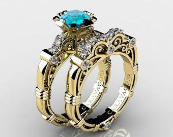 Art Masters Caravaggio 14K Yellow Gold 1.0 Ct Blue Zircon Diamond Engagement Ring Wedding Band Set R623S-14KYGDBZ