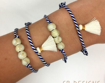 Blue and white waxed cord bracelets. Adjustable sliding knot. Handmade bracelet. Waxed cord bracelet. Polyester bracelets