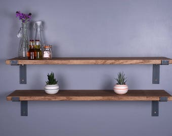 "Solid Oak Vintage Industrial Shelf 12"" - 300mm - Including Metal Brackets - Handmade Shelves"
