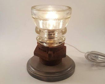 Glass insulator lamp with rusty industrial and wooden base. (#6)