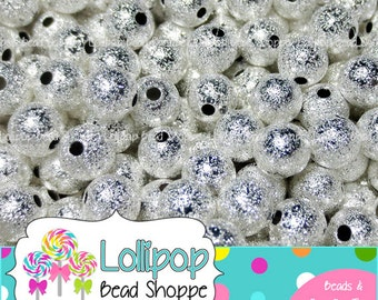 8mm Beads, SILVER Beads, STARDUST Beads, Metal Beads, Spacer Beads, Brass Beads, Jewelry Making, Round Beads, Spacers, 25 pcs