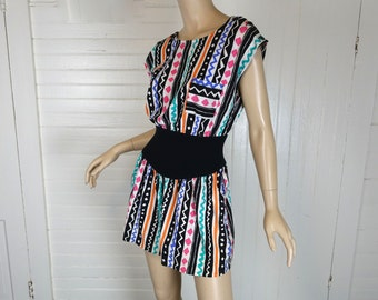 80s New Wave Romper- Black & White + Jewel Tones- 1980s Vintage Small- Funky Fresh Summer Beach Pool Punk Mini Shorts