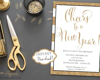 INSTANT DOWNLOAD - Gold Stripe Gold Glitter New Years Invitation - New Year's Eve Party Invitation - 2016 Party - Glitter and White Stripe