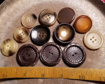 Mix of miscellaneous large brown sewing buttons