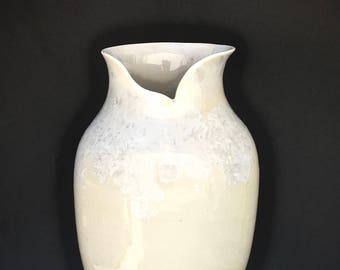 Ceramic Vase, Crystalline Pottery, Handmade Porcelain Vase, Creamy White Crystalline Glaze, Unique Gift, Susan Fontaine Pottery