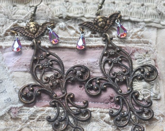 Patina Fleurs Statement Earrings with Vintage Swarovskis and Angels, Chandelier Earrings
