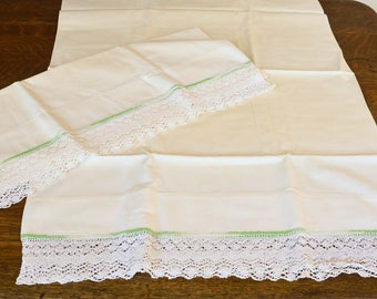 Beautiful Vintage Pillowcases, Green Pillowcases,  Pair of Embellished Pillowcases