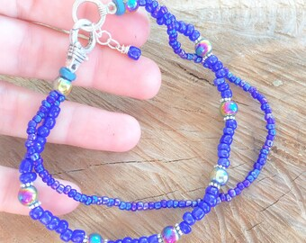 Blue ankle bracelet, glass bead anklet, blue boho anklet, gipsy beach anklet, double strand anklet, beaded anklet, beach boho jewelry