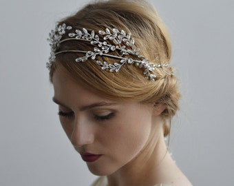 Frosted Leaves Bridal Halo - 1920s & 1930s inspired hair accessory, vintage inspired wedding, Art Deco bridal hair accessory