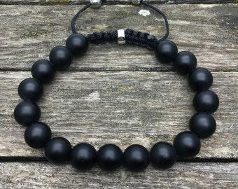 MEN Bracelet matt bmack onyx - Man Shamballa