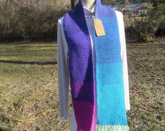 Multi Colored Fringed Scarf--  FREE SHIPPING