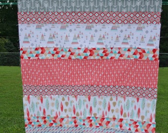 Quilt Top, Unfinished Quilt Top, Teepee Quilt Top, Tribal Quilt, Aqua & Coral Quilt, Matching Pillow Cover