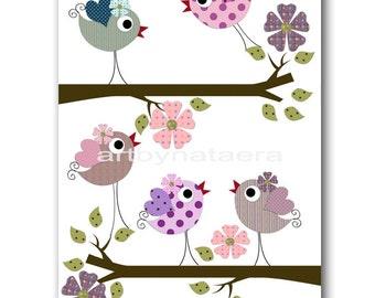 Bird Decor Art for Children Baby Nursery Decor Kids Wall Art Baby Girl Room Decor Baby Girl Nursery Print Baby Girl Wall Art Birds Rose