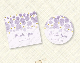 Purple Confetti Thank You Tag Favor tags cupcake toppers instant download editable text digital pdf birthday baby shower wedding bridal