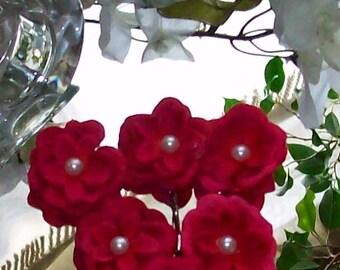 Wedding Fuschia Orange Hair Flower,Fuschia Head Piece,Fuschia Wedding,Fuschia Hair Flower