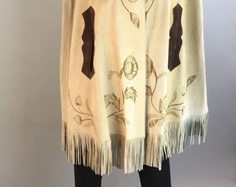 Vintage 60s Suede Fringe Cape// Hippie Festival Cape// Suede Leather Cape