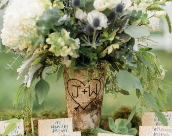 Birch Vase-rustic vase-personalized vase-monogrammed vase-custom-bark-wood-vase-wood vase-birch-rustic-wedding-bridal-anniversary-wedding