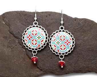 Bohemian red earrings, portuguese tile earrings, vintage dangle earrings, azulejo, Portugal, anniversary gift for mom, gift for wife