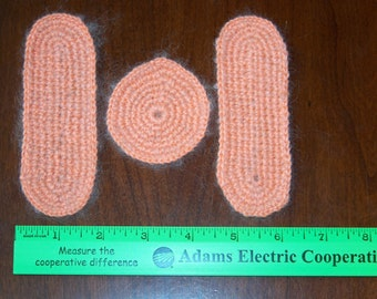Set of 3 Handmade Crocheted Dollhouse Rugs--Round and 2 Oval    FREE SHIPPING
