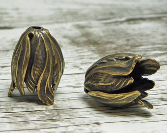 Tassel Caps - Tassel Cones - Bronze Bead Caps - Large Bead Cap -Tulip Bead Cap -  20x15mm Antique Bronze Tulip Bead Cap, 1pc  (4818)