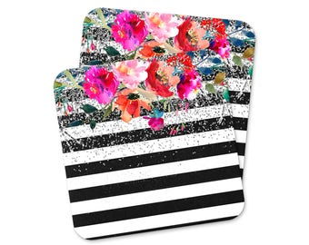 Floral Watercolor Coaster - Black White Stripe Coaster - Rose Silver Glitter
