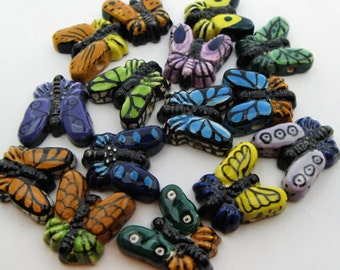 10 Large Mixed Butterfly Beads - LG449