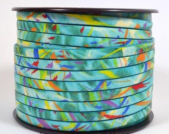 5mm European Printed Leather - Turquoise Fiesta - 5mm Flat Leather - Choose Your Length