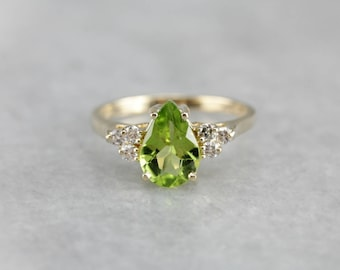 Pear Cut Peridot Ring, Peridot and Diamond Ring, August Birthstone, Right Hand Ring X8FRKNME-D