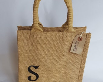 Personalised Reusable Natural Brown Jute Hessian Tote Lunch Small Shopping Bag Shopper Handmade Black Initial Letter Stencil Design Print