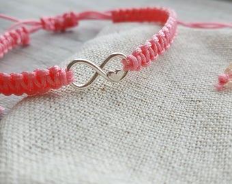 Handmade macrame friendship bracelet, woven braided pink bracelet, infinity charm bracelet, love forever bracelet, Valentines day gift