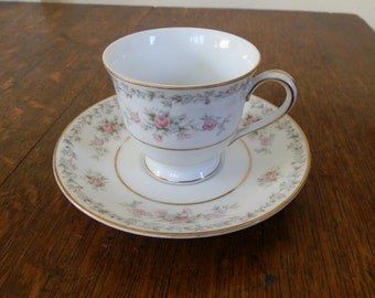 Vintage Noritake Pink and White Floral BARTON Design Coffee Cup and Saucer / Demitasse