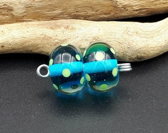 Dotty Lampwork Pair in Aqua Blue - Lampwork Beads by Joyce McGillivray