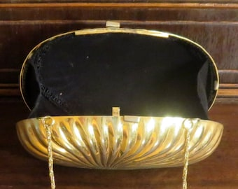 Dads Grads Sale Brass Minaudiere with Spiral Pattern And Chain