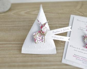 Boîte à dragées berlingot + lapin en origami liberty Eloise - cadeau de remerciement invités  anniversaire, baptême, mariage fait main