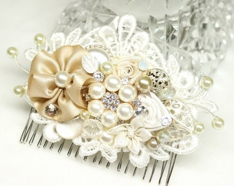 Champagne Bridal Hairpiece- Bridal Hair Accessories- Champagne Hair Comb- Wedding Hairpiece- Champagne Wedding Clip- Lace Hair Accessory