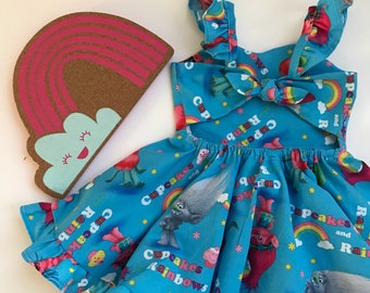 Cupcakes Rainbow Poppy Dress, Trolls Dress, Trolls Birthday Dress