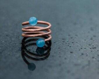 Copper ring. Gemstone ring. Spiral ring. Blue or pink ring. Modern and elegant ring. Boho chic girl.