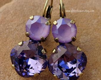 Tanzanite & Lilac Purple Swarovski Crystal Lever Back Statement Earrings, Bridesmaid Earrings, Purple Gradient Multi Stone Crystal Earrings