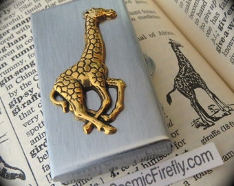 Small Giraffe Pill Box Gothic Victorian Tiny Size Silver Tone Metal Pill Case Vintage Inspired Steampunk Style