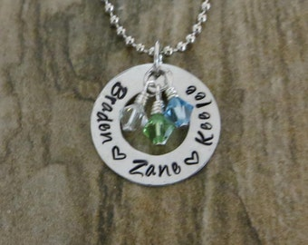 Hand Stamped Personalized Mother's Birthstone Necklace/Pendant- Handmade Jewelry - Mother, Family, Children, Birthstone Jewelry