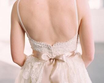 "Blush Taupe 2"" 50mm Wide Silky Satin Ribbon Wedding Gown Sash"