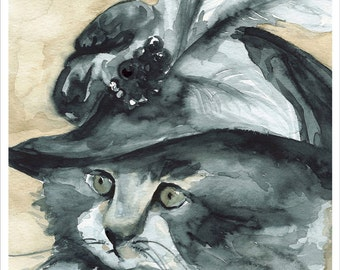 watercolor painting-  large print- cat watercolor -Dear Heart -cat art