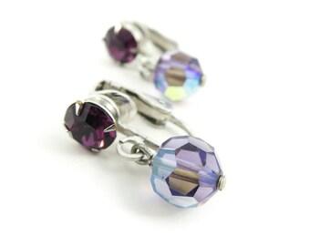 Vintage Purple, Dangle Earrings, Clip Ons, Iridescent, Silver Tone