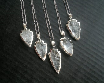 Quartz Arrowhead Necklace Arrowhead Jewelry Silver Dipped Quartz Clear Quartz Jewelry Tribal Necklace Tribal Jewelry Mineral Necklace Stone